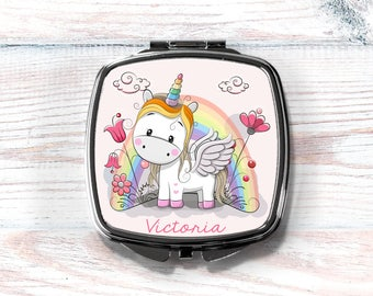 Unicorn Compact Mirror, Personalized Compact, Gift for Girl, Gift for Her, Gift for Teen, Gift for Tween, Stocking Stuffer