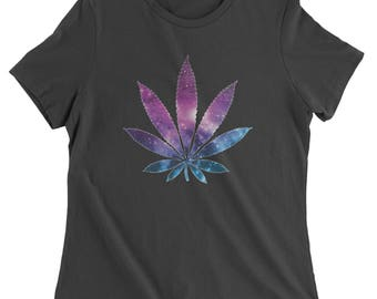 Galaxy Print Pot Leaf Womens T-shirt