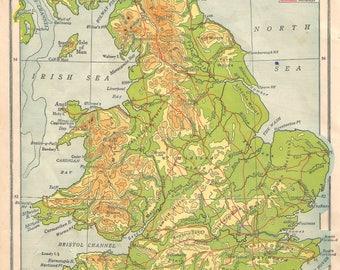 British Isles Map Etsy - Contour maps online uk