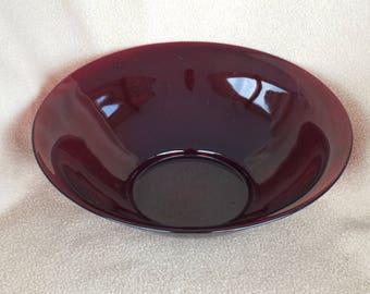 Vintage Red Glass Serving Dish; Vintage Red Glass Bowl