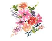 Watercolor Flower Printable, Digital Download Floral Art, Purple and Pink printable, Floral Digital Print, Watercolor Art Digital Download