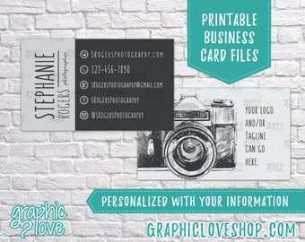 Printable Vintage Camera Photography Double Sided Business Cards | Calling Card, Small Business, Photographer | Digital JPG, PNG & PDF Files