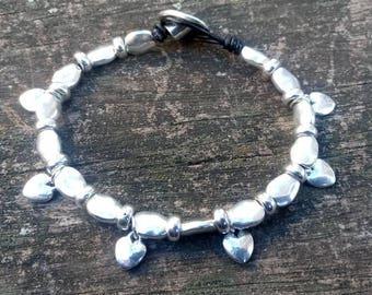 uno de 50 bracelet style, hearts  bracelet, zamak bracelet, boho bracelet