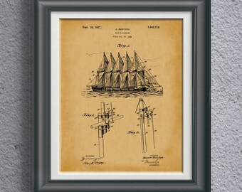 Pirate Boat Nautical Patent Print Nautical Sailing Ship Artwork Nautical Poster Nautical Decor Beach House Wall Art Coastal Artwork PP 8903