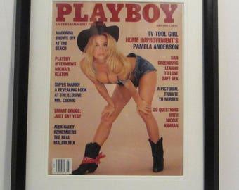 Vintage Playboy Magazine Cover Matted Framed : July 1992 - Pamela Anderson