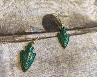 Patina bronzed arrowhead earrings
