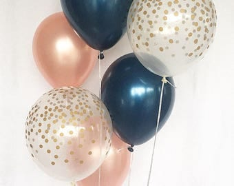 Navy Rose Gold and Gold Confetti Latex Balloon~Wedding Balloon~Bridal Shower~Birthday Party~Baby Shower~Navy&Gold~Gold Confetti Look Balloon