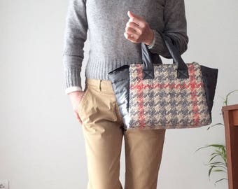 Maxi Tweed Tote bag with nylon/gray