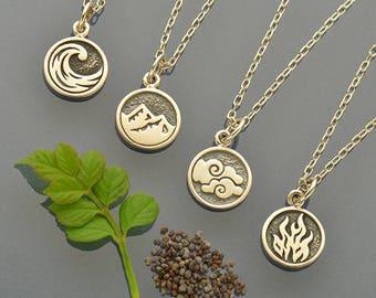 Sterling Silver, Elemental Charm, Charm Set, Earth Charm, Air Charm, Water Charm, Fire Charm, Silver Element, Element Charm, Four Elements