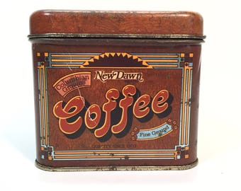 Vintage Coffee Tin Canister New Dawn Columbian Grown Fine Ground Quality Since 1903 by Cheinco Housewares