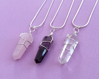 Healing Crystal Necklace, Wire Wrap Crystal Pendant, Crystal Jewelry Set, Rose Quartz, Amethyst, Clear Quartz