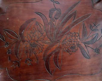 Vintage mahogany tray Haiti, wooden carved tray