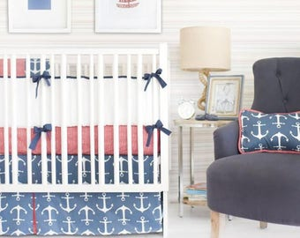 Anchors Away in Navy Nautical Baby Bedding Set