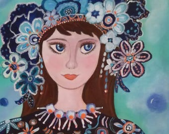 Lola - muse flower - portrait-young girl canvas 40 x 40
