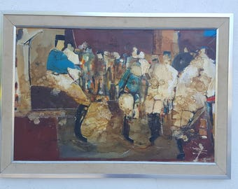Abstract Mixed Media Collage  Painting Signed  By Listed  Artist Valenti.