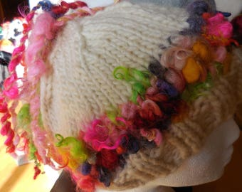 Hat knitted with wool art