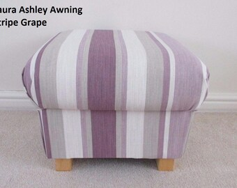 Laura Ashley Awning Stripe Grape Fabric Footstool Lilac Cream Footstall Pouffe