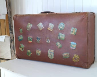 Old GDR travel suitcase-great stickers