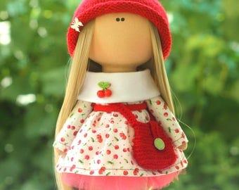 Interior doll Textile doll Cherry soft doll Tilda doll Ragdoll Long hair doll Spring doll Soft body doll Dress doll Doll tilda Doll textile