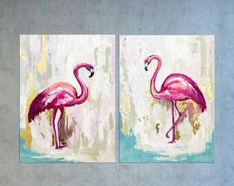 Diptych Flamingo art, Bird painting, Flamingo painting, Nursery art, Tropical bird, Coastal decor, Abstract art, Bird decor, Flamingo decor