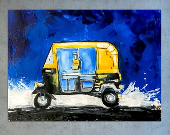 Auto art, India art, Auto Rickshaw, Indian decor, Indian Painting, Painting on Canvas, Abstract Indian art, Contemporary art, Nikki Chauhan