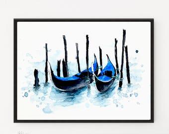 Venice painting, Italy art, Printable art, Art Print, Illustration, Gondola, Travel art, Modern Wall art, Home Decor, Holiday Gift,