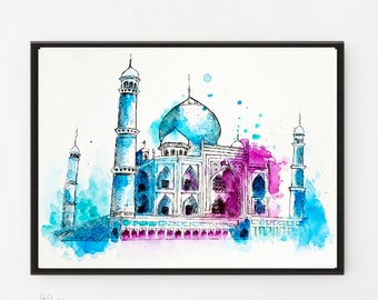 Taj Mahal, City art, Watercolor Painting, Indian art, City Illustration, Travel art, Art Print, Modern art, Holiday Gift, Printable art