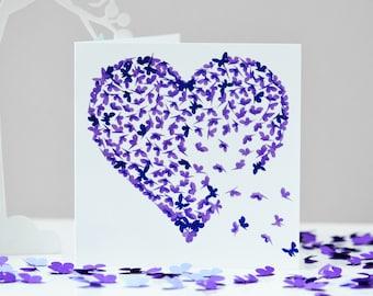 Purple Heart Butterfly Card Purple birthday card Romantic