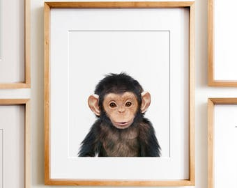 Chimpanzee print, Nursery animal print, PRINTABLE art, Safari animal nursery, Nursery decor, Baby animals, Nursery prints, Ape not a monkey!