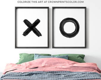 Abstract prints, X and O prints, PRINTABLE, Wall art, Modern Minimalist print, Modern art, Minimalist Art, Brushstroke Art, Contemporary Art