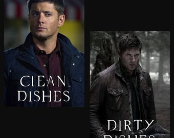 Supernatural Clean Dirty Dishwasher Magnet | Dean Winchester | Geek Kitchen | Clean Dirty Magnet