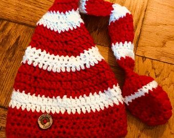 Elf crochet hat. Long tail elf hat.