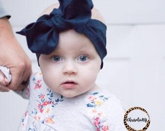 Navy headwrap, baby headwrap, fabric head wrap, newborn headwraps, newborn headband, toddler headwrap, blue headwrap, turban headwrap