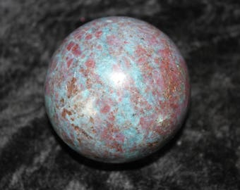 Gorgeous Large Reiki Infused Ruby and Blue Kyanite Sphere with Pillow perfect for Meditation and Clearing