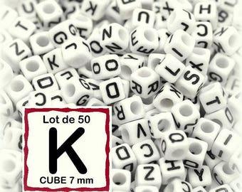 """cube alphabet """"K"""" 7mm - letter beads 50 beads"""