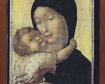Virgin Mary,La Madonna con Bambino,Liberale da Verona(1470),Lindenau Museum-Altenburg.FREE SHIPPING
