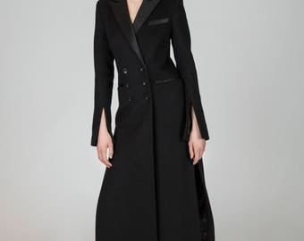 Tammy Black Wool Tuxedo Maxi Coat by Other Theory, 18АW022