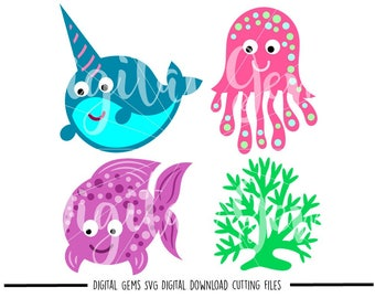 Fish, Sea life svg / dxf / eps / png files. Digital download. Compatible with Cricut and Silhouette machines. Small commercial use ok