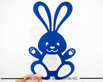 Bunny Rabbit paper cut svg / dxf / eps / files and pdf / png printable templates for hand cutting. Digital download. Commercial use ok.