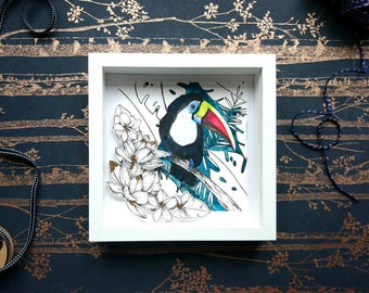 Toucan, framed art, papercut, watercolour art, tropical