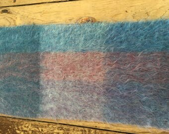 "Blue Mohair Scarf 12 x 68"" Made in Scotland"