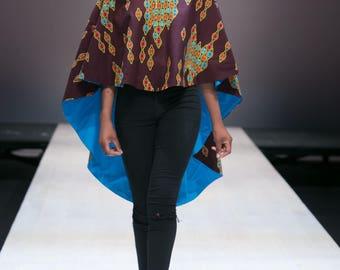 African Print Asymmetrical Poncho/Cape