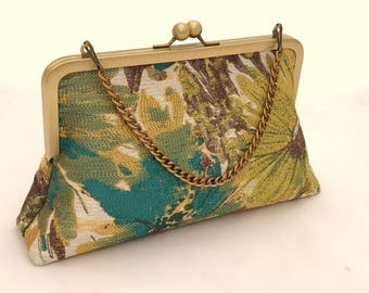 Gold and Teal Purse ~  Gold Evening Bag ~ Gold and Teal Clutch