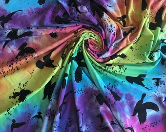 Midnight Rainbow Birds Cotton Jersey Hand Dyed Fabric