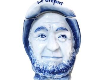 """vintage french  porcelain jewelry box, old sailor shaped, porcelain trinket box, """"Le Tréport"""" souvenir"""