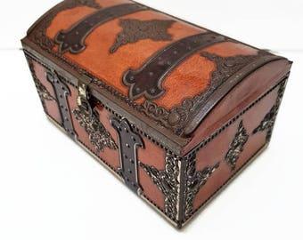 vintage treasure tin box, metal chest box, mid century box, 1950's french home decor