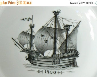 ON SALE Swedish Galleon Ship Plates - Set of 3,  Kungsholmsservisen 1400, 1600, 1700, ALP Porcelain Plate, Fred Lundquist & Co, Sweden