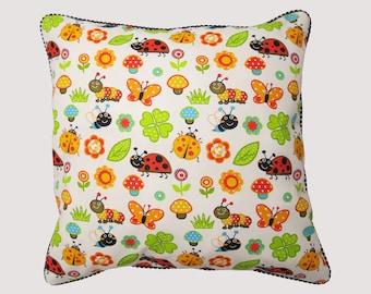 Handmade cushion ladybugs 42 cm x 42 cm