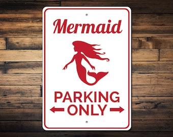 Mermaid Lover Gift, Mermaid Parking Sign, Mermaid Decor, Mermaid Sign, Mermaid Party Decor, Mermaid Wall Decor - Quality Aluminum ENS1002879