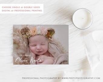 Digital Birth Announcement Card, Printable Baby Thank You, Baby Girl Card, Photo Announcement, Free Colour Changes, Purple Violet